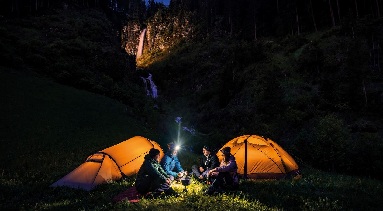 Camping in tents at night